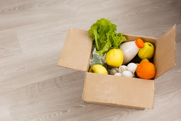 Takeaway salad, vegetables and food delivery. service food order online delivery in quarantine covid-19. airline food.