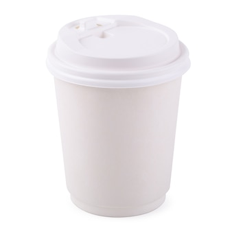 Takeaway White paper coffee cup isolated on a white background