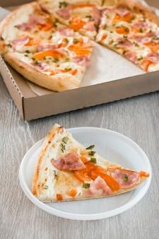 テイクアウト食品。使い捨てのプラスチックプレートにピザのスライスを入れ、キッチンのテーブルにピザの箱を置きます。垂直方向のビュー