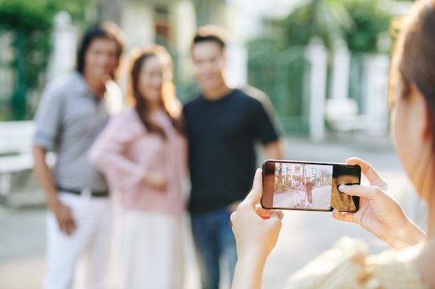 Taking family photo