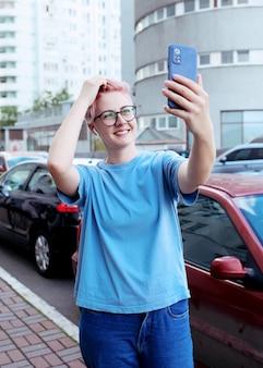 Taking selfie self portrait photos on smartphone