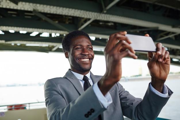 Taking selfie on smartphone