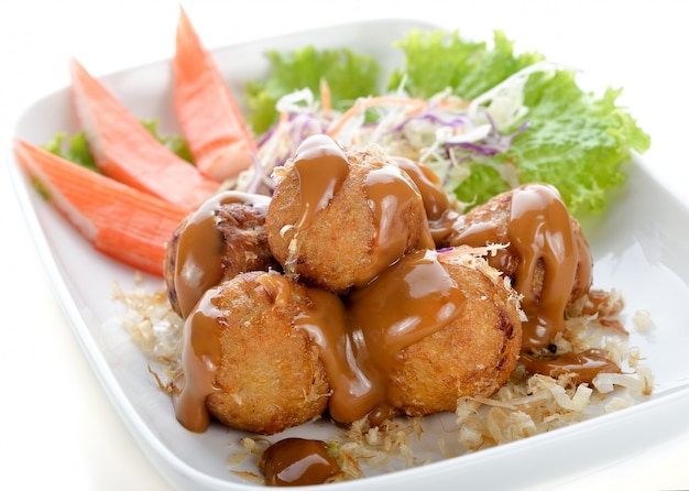 Takoyaki, octopus balls, japanese food, selective focus