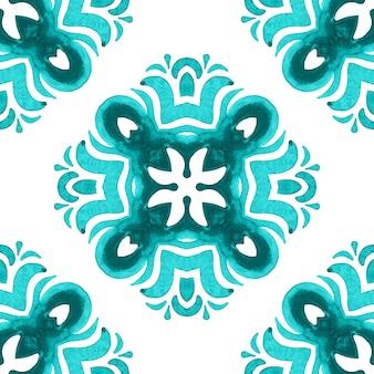 Talavera ceramic hand drawn tile seamless ornamental watercolor paint pattern. cross motif mediterranean culture