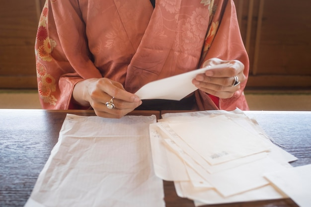 Talented woman working with japanese paper