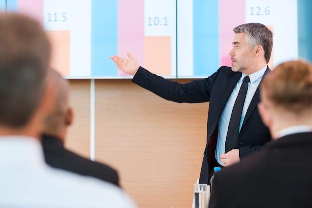 Кстати о числах. уверенный в себе зрелый мужчина в строгой одежде, указывая на проекционный экран с графиком, во время презентации в конференц-зале с людьми на переднем плане