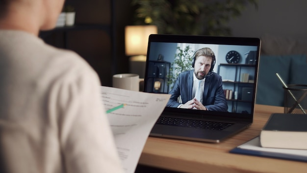 Talking to business partner using video call
