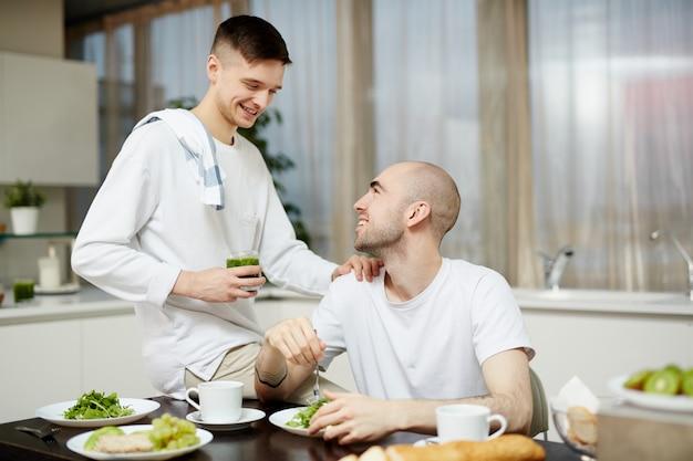 Talking by breakfast