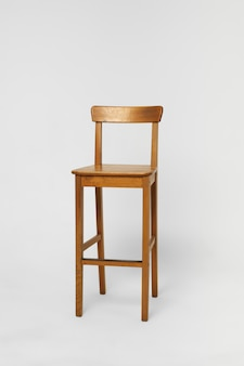 Tall bar wooden chair with backrest