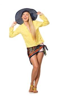 Tall caucasian model wearing hat isolated