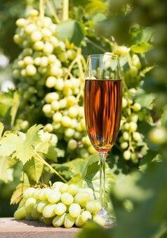 背の高いグラスワインとブドウの房