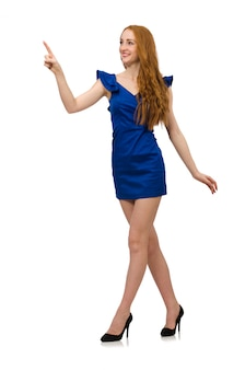 Tall model in blue dress isolated