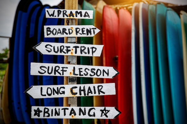 Tall post with colored wooden signboards pointing to various a beach services. Premium Photo