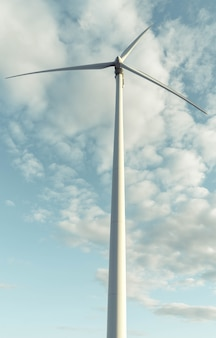 Tall wind turbine with cloudy sky