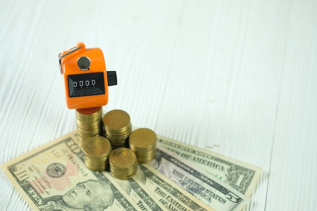 Tally counter or counting machine on coin and banknote