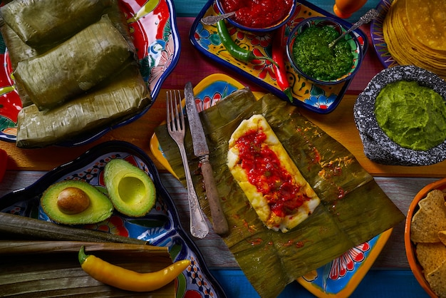 Tamale mexican recipe with banana leaves