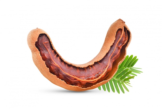 Tamarind with leaf on white background . full depth of field mockup