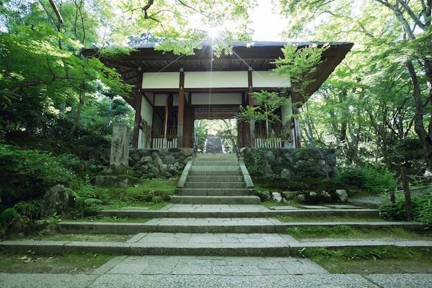 夕焼けのフレアと緑の木々で日本をタンプル