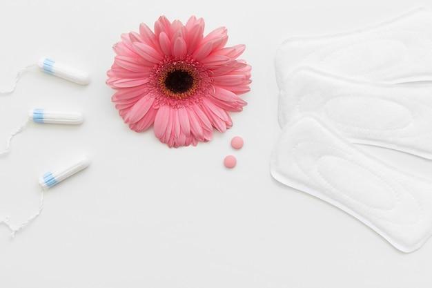 흰색 배경, 여성 건강 관리에 탐폰 및 위생 패드. 피임약, 피임 및 규칙적인주기., 여성 용품, 월경 개념