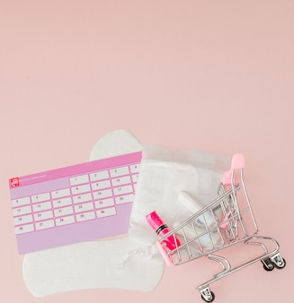 Tampon, feminine, sanitary pads for critical days, feminine calendar, pain pills during menstruation on a pink background