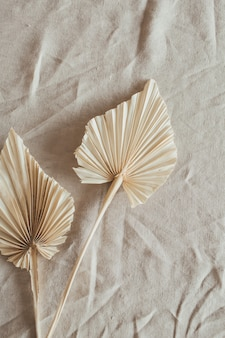Tan fan craft leaves made of craft paper on beige washed linen cloth