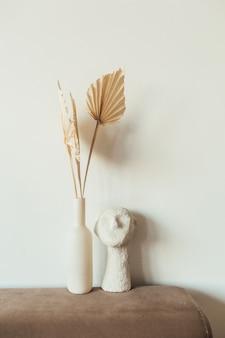 탄 팬 공예 종이 잎과 흰색 흉상
