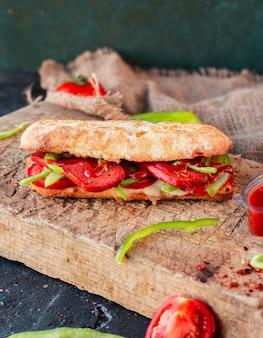 Tandir bread doner, sucuk ekmek with sausage
