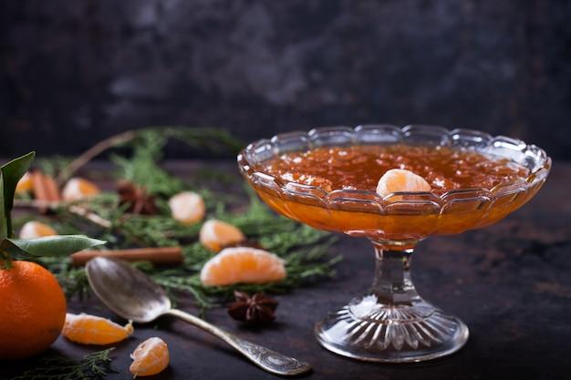 Tangerine jam. traditional dessert at christmas