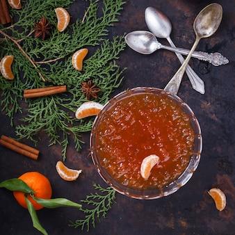 Tangerine jam.a traditional dessert at christmas