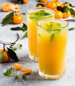 Мандариновый сок в очках на свет