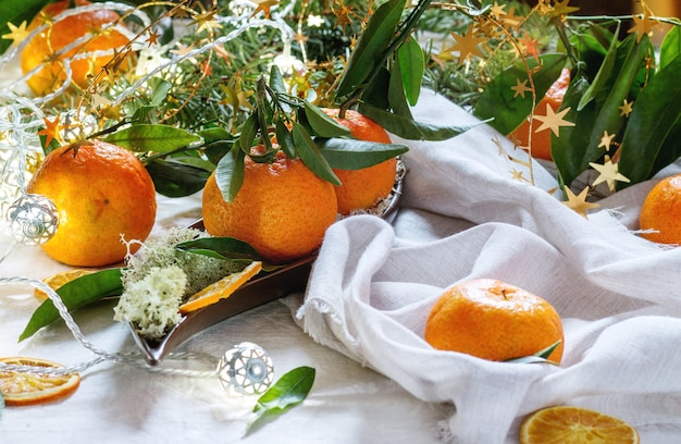 Tangerines in christmas decor