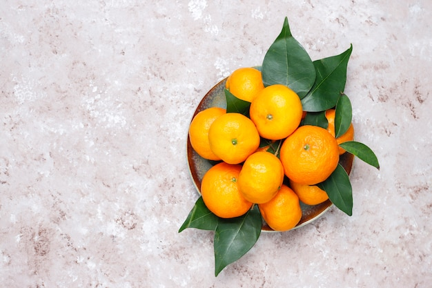 Tangerines (oranges, clementines, citrus fruits) with green leaves on concrete surface with copy space