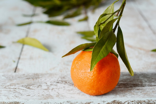 Tangerines (oranges, mandarins, clementines, citrus fruits) with leaves