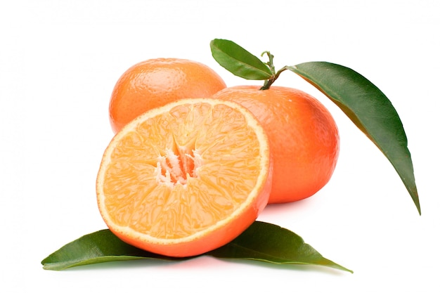 Tangerines, peeled tangerines and mandarin slices on a white background.