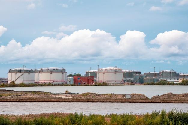Tank farm oil and gas terminal in saint petersburg