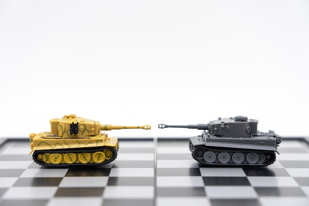 Tank model on the back negotiating in business
