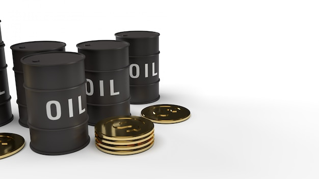 ガソリンコンテンツのタンクオイルと金貨の3 dレンダリング。
