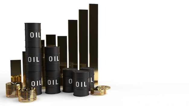 Tank oil and chart 3d rendering for petrol content.