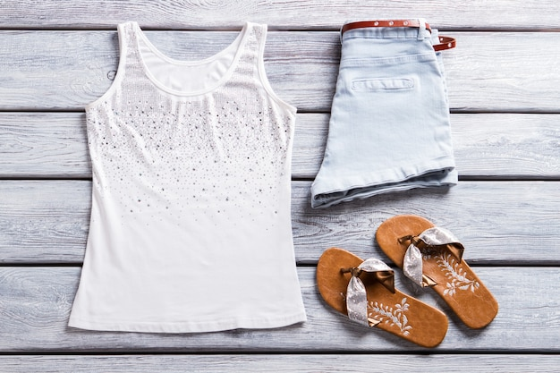 Tank top and flip flops shorts with belt and footwear new collection of summer apparel quality cloth...