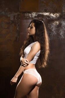 長い髪と影のレースのランジェリーでポーズをとる完璧な姿の日焼けした運動ブルネットの女性