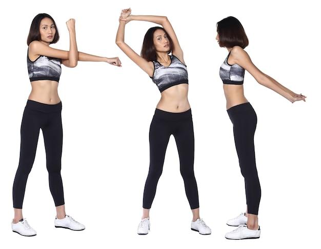 그을린 피부 아시아 여성은 피트니스 스포츠 브래지어 요가 바지 운동화를 착용합니다. 전체 길이 여성 운동 및 절연 흰색 배경 위에 건강 한 땀