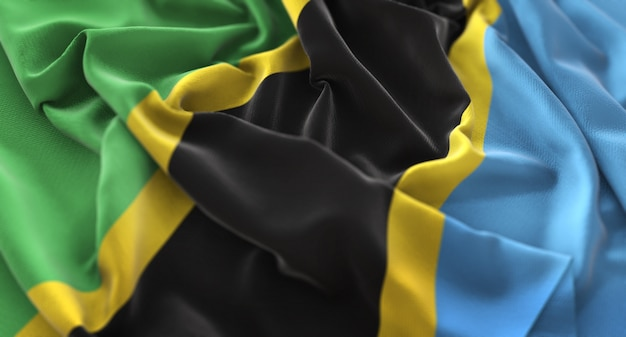 Tanzania flag ruffled beautifully waving macro close-up shot