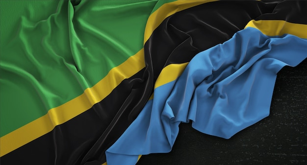 Tanzania flag wrinkled on dark background 3d render