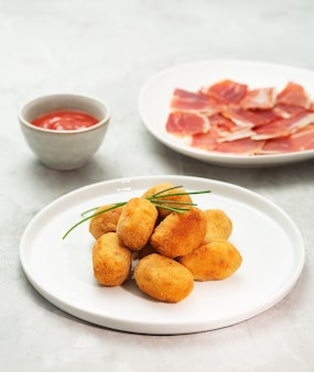 Tapas croquettes, traditional spanish or french snack