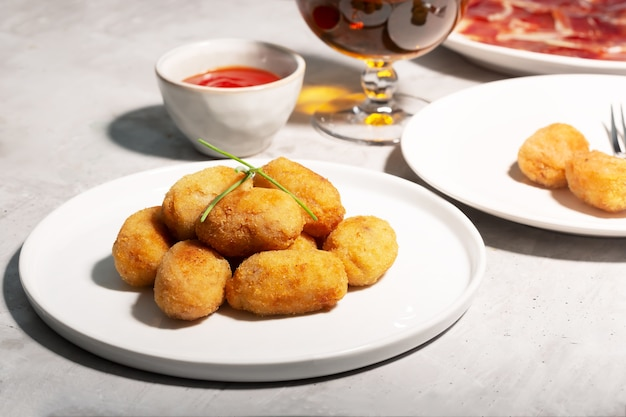 Tapas croquettes, traditional spanish or french snack.