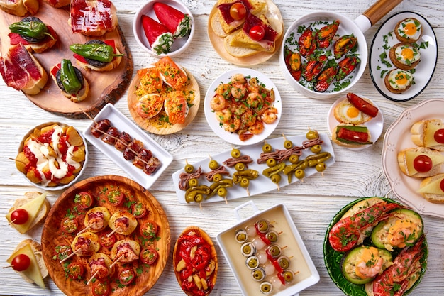 Tapas mix and pinchos food from spain