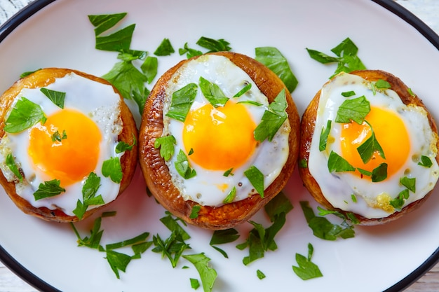 Tapas mushrooms with quail eggs from spain