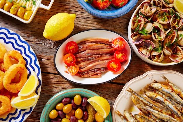 Tapas spanish seafood clams shrimps