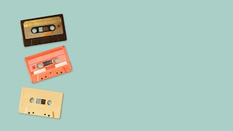 Tape cassette recorder on color background. retro technology.