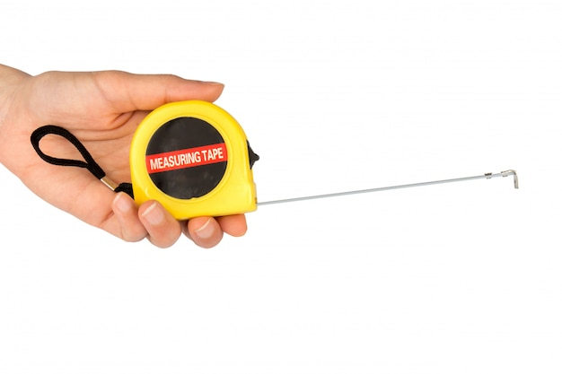 Tape measure hand isolated on white